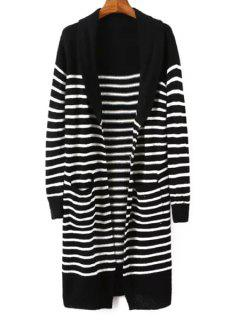 Turn-Down Collar White Black Stripe Cardigan - Black
