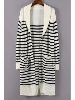 Turn-Down Collar White Black Stripe Cardigan - White