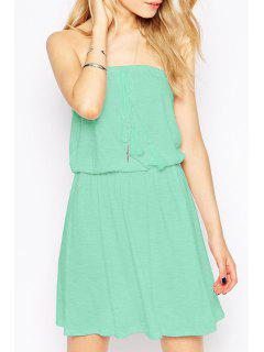 Pure Color Strapless Dress - Green 2xl