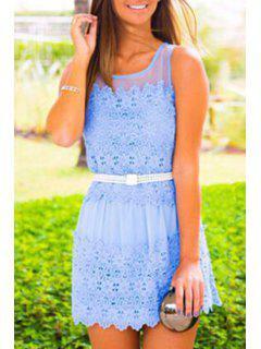 Lace Splicing Jewel Neck Sundress - Light Blue M