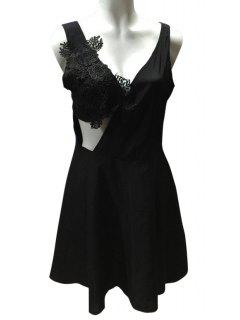 Lace Spliced A Line Sleeveless Dress - Black L