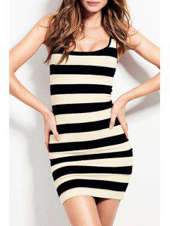 Sleeveless Striped Bodycon Dress - White And Black 2xl