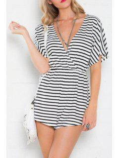 Deep V Neck Stripe Short Sleeve Romper - White And Black L