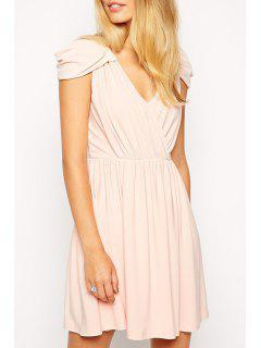 Pure Color V Neck Cap Sleeve Dress - Pink S