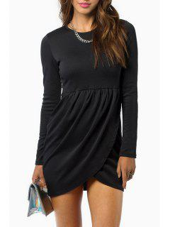 Cross Ruffle Long Sleeve Dress - Black L