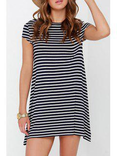 Jewel Neck Stripes Short Sleeve Dress - White And Black Xl