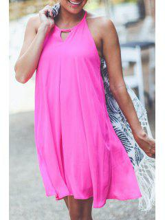 Sleeveless Solid Color Chiffon Flare Dress - Rose M