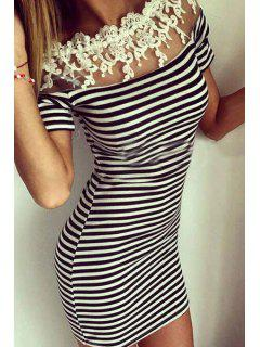 Off-The-Shoulder Lace Spliced Bodycon Dress - White And Black S