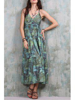 Full Leaf Print Crisscross Back Dress - Green