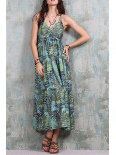 Full Leaf Print Crisscross Back Dress - Green