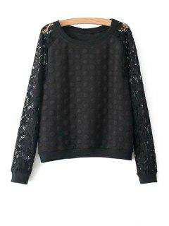 Polka Dot Lace Long Sleeve Sweatshirt - Black L