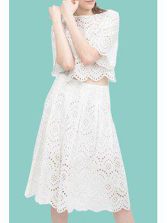 White Openwork Lace Hook Crop Top And Skirt Suit - White M