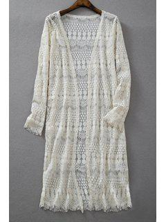 Crochet Lace Long Sleeve Blouse - Off-white S