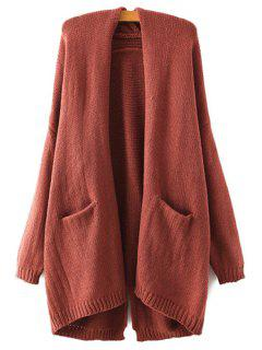 Back Slit Pocket Long Sleeve Cardigan - Dark Auburn