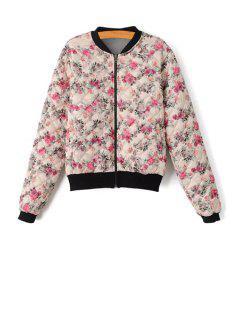 Floral Print Zipper Long Sleeve Jacket - S