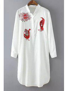 Sun Animal Embroidery Long Sleeve Dress - White L