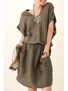 Solid Color Elastic Waist Pocket Dress - Khaki S