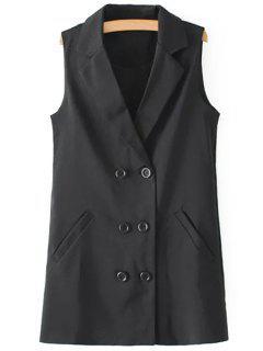 Lapel Double-Breasted Pocket Waistcoat - Black S