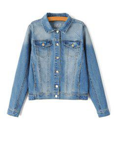 Bleach Wash Single-Breasted Denim Coat - Blue L