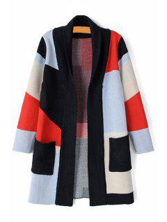 Color Block Plaid Long Sleeve Cardigan - M