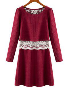 Lace Splicing See-Through Long Sleeve Dress - Wine Red S