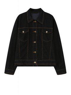 Pure Color Long Sleeve Denim Jacket - Black