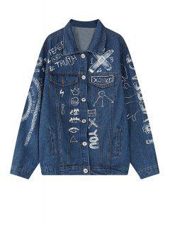 Scrawl Print Long Sleeve Blue Jacket - Blue