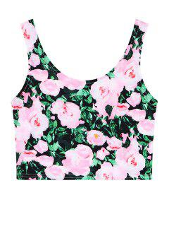 Full Floral Sleeveless Crop Top - Pink