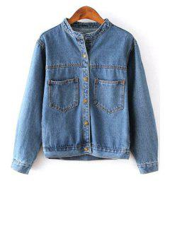 Single-Breasted Bleach Wash Denim Coat - Blue L
