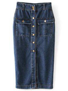 Single-Breasted Long Denim Skirt - Blue L