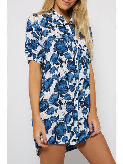 Short Sleeve Floral Print Long Shirt - Blue M