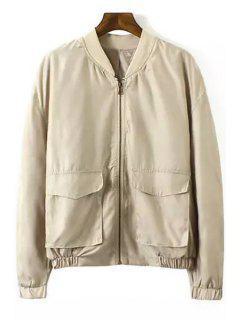 Back Eagle Pattern Long Sleeve Jacket - Khaki S