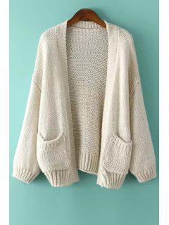 Long Sleeve Solid Color Collarless Cardigan - Off-white