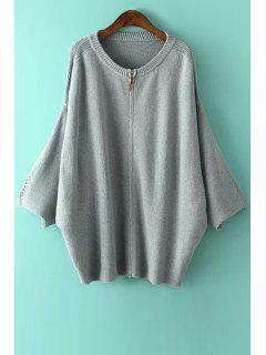 Zipper Fly Solid Color Long Sleeve Cardigan - Gray