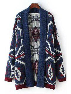 Turn-Down Collar Argyle Pattern Stripe Cardigan - Blue S
