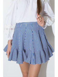 High-Waisted Striped Flouncing Mini Skirt - Blue And White 2xl