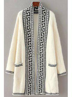 Black Stripe Pattern Long Sleeve Cardigan - White