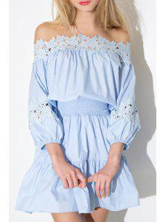 Off-The-Shoulder Lace Spliced Dress - Blue L