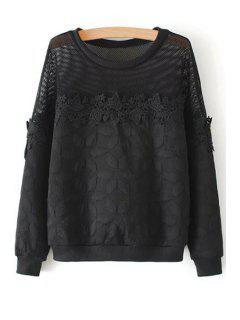 See-Through Lace Splicing Long Sleeve Sweatshirt - Black S