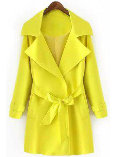 Turn-Down Collar Belt Solid Color Trench Coat - Yellow M