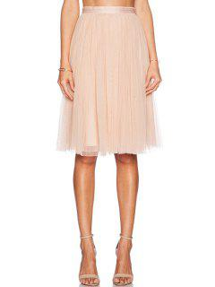 High-Waisted Solid Color Voile Skirt - Pink Xl
