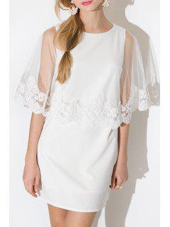 Voile And Lace Splicing White Shift Dress - White 2xl