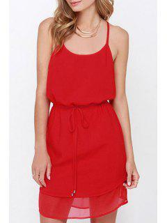 Spaghetti Strap Double-Layered Chiffon Dress - Red Xl