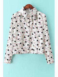 Heart Arrow Print Long Sleeve Shirt - White