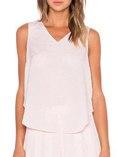 Layered Cross-Over Pink Tank Top - Light Pink S