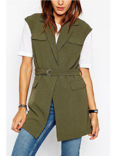 Army Green Lapel Sleeveless Coat - Army Green 2xl