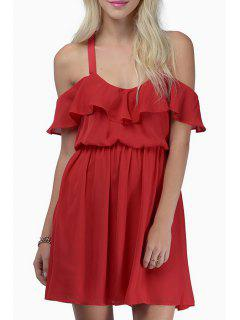 Off-The-Shoulder Flouncing Crisscross Chiffon Dress - Red 2xl