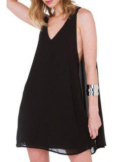 Black Plunging Neck Chiffon Dress - Black Xl