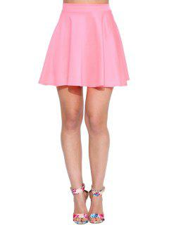 High-Waisted Solid Color Ruffled Mini Skirt - Pink L