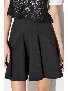 High-Waisted Black Spliced Mini Skirt - Black L